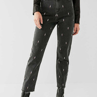 BDG Mom Jean – Embroidered Lightning Bolt   Urban Outfitters