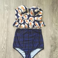 Floral Print High Waist Swimsuit Bikini  12324