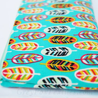 Turquoise, teal, blue green, feather zipper pouch in mint, black, yellow, magenta