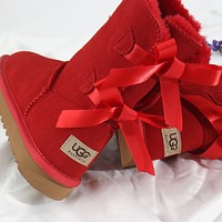 UGG Bow Leather Shoes Boots Winter Half Boots Boots Shoes-5