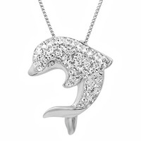 Sterling Silver Crystal Dolphin Pendant-Necklace made with Swarovski Elements 18in. Box Chain