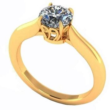 Unique Engagement Ring 1 carat Yellow gold Swirl Prongs Trellis Diamond Solitaire Ring 14K Solid Gold