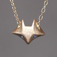 Fox Necklace in 14K Gold with Blue Sapphires
