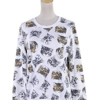 Anna-Kaci S/M Fit White All Over Green and Blue Eyed Cats Print Pullover Sweater