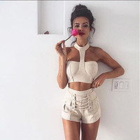 HIGH WAIST LACE SUEDE SHORTS