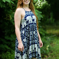 Navy Elephant Pattern High Neck Dress
