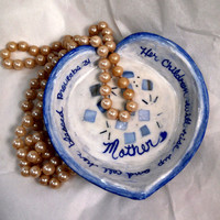 Jewelry tray white blue ring tray inspirational gift ring tray Mother gift mosaic ring tray