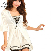 Drop Shipping Sexy Women Twinset Lace Pajama Strap Sleep Night Robe Nightwear Sleepwear Set plus sixe
