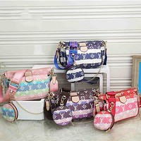 LV Tie-Dye Printed Women's All-match Mahjong Bag Three-piece Set