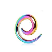 Pair (2) Rainbow Titanium Anodized Spiral Tapers Ear Plugs Stretchers 8G 3mm