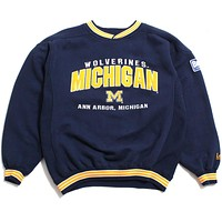 University of Michigan Applique Arch & Big Ten Patch Lee Sport Crewneck Sweatshirt Navy (Medium)