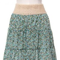 Countryside Picnic Ditsy Floral Skirt with Crochet Waistband in Turquoise   Sincerely Sweet Boutique