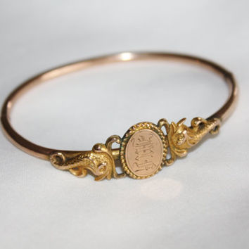Victorian Bangle Bracelet, Antique Bangle 14kt Rose Gold, Monogrammed 1900s Fine Jewelry