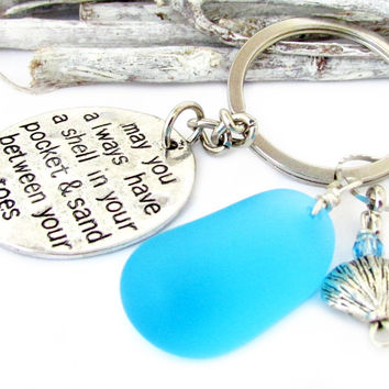 Sea Glass Keychain with Beach Quote