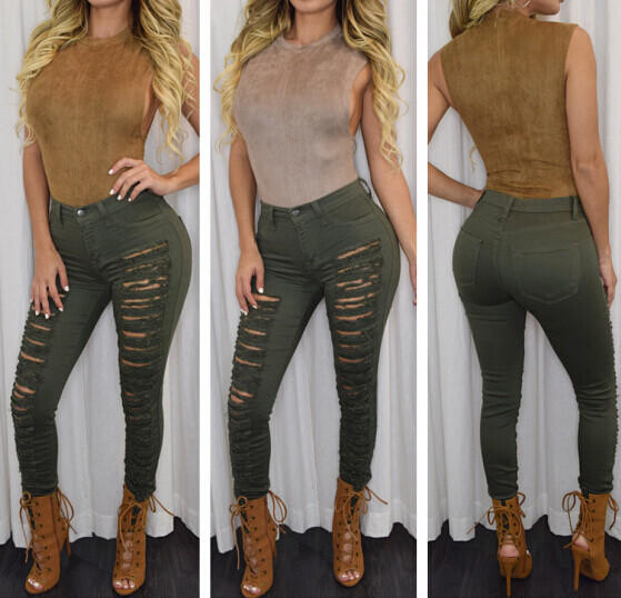 Image of Fashion Hollow Out Hole Jeans
