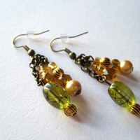 Green bead, gold beads, antique brass, pewter, chain, champagne beads, dressy, fishhook, plastic stopper, pearl
