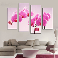 Unframed 4 Panel Orchid Flower Modern Canvas Painting Print Art Picture Home Wall Decor For Living Room Wall Art Picture