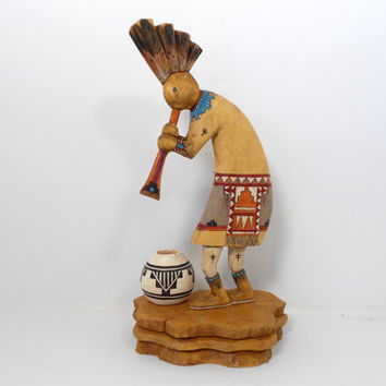Hand Carved Wooden Kokopelli - The Humpback Flute Player w/Pottery