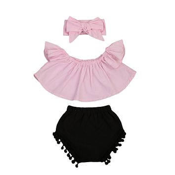 born Baby Girl Clothes Set Off Shoulder Top T-Shirt+ Tassel Triangle shorts +Headband 3PCS Outfit Sun-suit Clothing