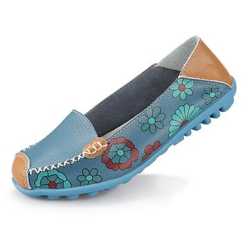 Ablanczoom Womens Comfortable Leather Floral Print Flats Casual Driving Loafers Walking Shoes for Women 7 Blue