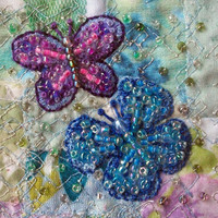 Beaded butterflies card - blue & purple butterflies on patchwork - square card - fabric art card  - wedding or anniversary gift card