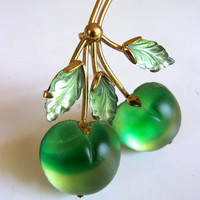 Molded Frosted Glass Fruit Austrian Brooch Pin, Green Apple Leaves, Vintage