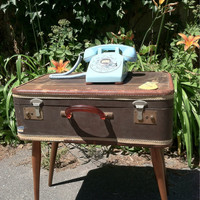 Upcycled repurposed vintage brown and brass detailed suitcase end table wood mid century legs