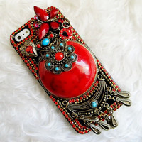 Red Gem and Butterfly Accessories Studded iPhone Case, Handmade iPhone 4 Case, iPhone 5 Case , Rhinestone Swarovski Crystal  iPhone 4s Case,