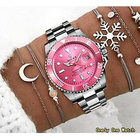 Rolex Classic Hot Sale Women Men Casual Quartz Watches Couple Wrist Watch Pink