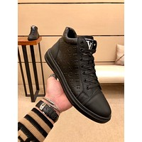 lv louis vuitton trending womens men leather side zip lace up ankle boots shoes high boots 193