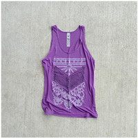 Womens tank top  S/M  tribal arrows and lace by blackbirdtees