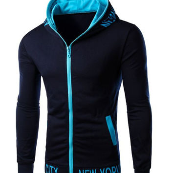 """Color Block """"New York"""" Letter Print Patch Pocket Long Sleeve Hoodie"""