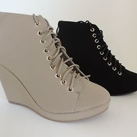 NEW Womens Wedge High Heel Platform Bootie Oxford Ankle Boots Shoes Fashion Size