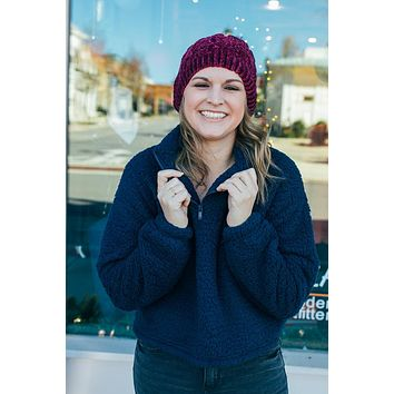 Cropped Sherpa Pullover {Navy}