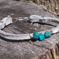 PRE SALE White Leather Turquoise Wire Wrapped Bracelet