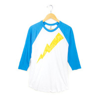 Lightning Bolt Hand STENCILED Deep Crew Neck 3/4 Sleeve Raglan Tee in Yellow and Heather Blue and White - S M L XL 2XL