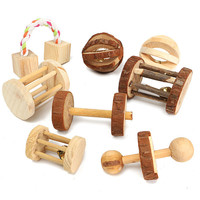 1Pcs Pet Dog Natural Wooden Chew Toys Pine Dumbells Unicycle Bell Roller Chew Toy For Cat Rabbits Hamster Rat Learning Play Toy