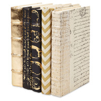Designer Books, Gold, Set of 5, Decorative Books & Bindings