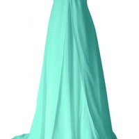 Sunvary New Sweetheart Chiffon Empire Formal Dress for Evening Bridesmaid Dress Long - US Size 10- Pink