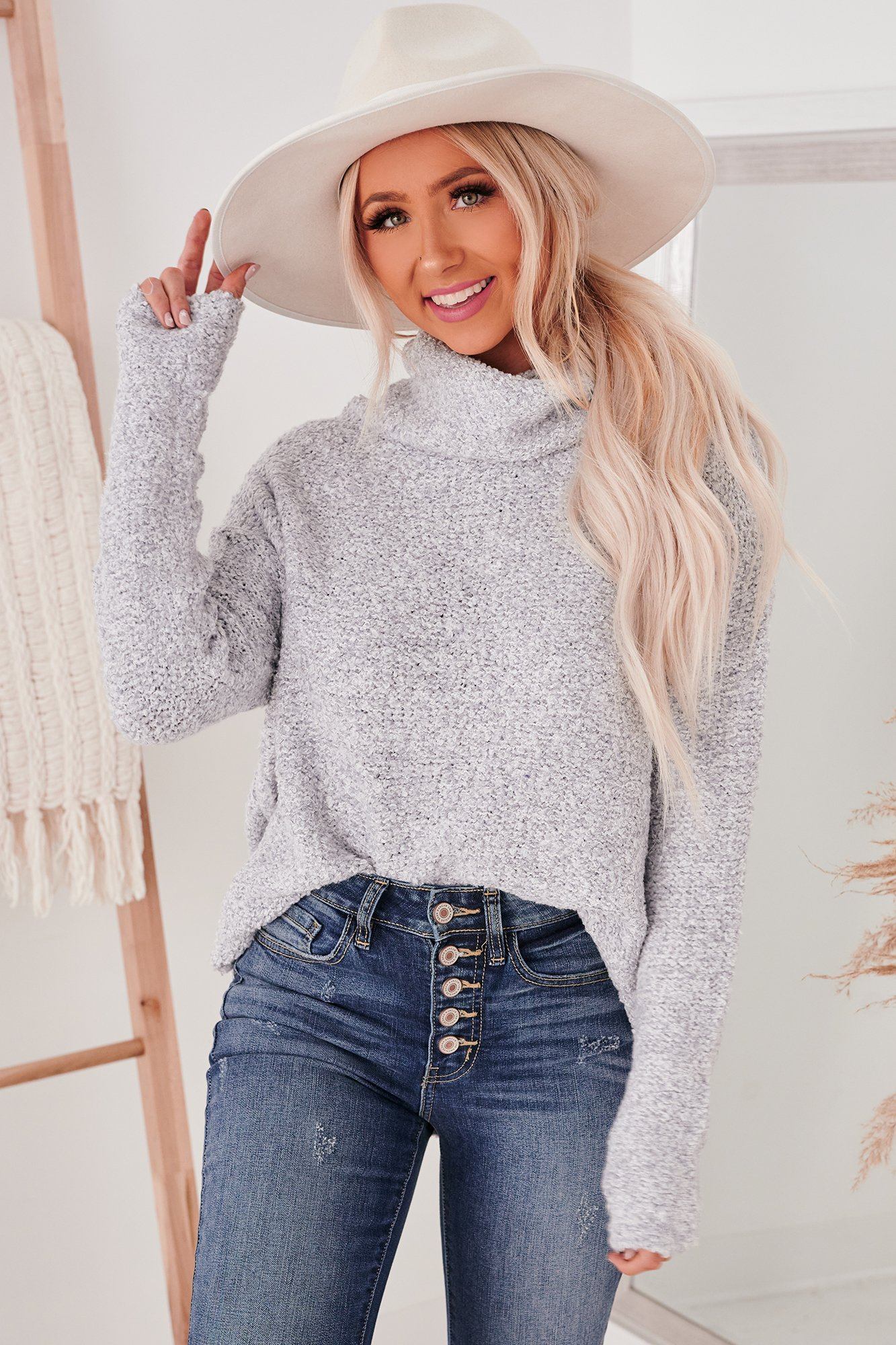 Image of My Heart Is Yours Chunky Cowl Neck Sweater (Heather Grey)