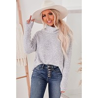 My Heart Is Yours Chunky Cowl Neck Sweater (Heather Grey)