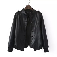 Black Double Button Stand Collar Bomber Jacket