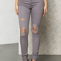 Grey Distressed High Rise Skinny Jeans