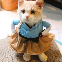 Funny Cat Costume Uniform Suit Cat Clothes Costume Puppy Clothes Dressing Up Suit Party Clothing For Cat Cosplay Clothes