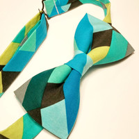 Geometric Bow Tie • Pre-Tied Bow Tie • Blue Green Bow Tie • Geekery Mens Fashion • Novelty Bowtie • Gifts For Guys • Colorful Bowtie