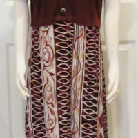 Vintage Dress Vintage Clothing Brown Dress Day Dress Modest Dress Summer Dress Ethnic Dress Hippie Dress Size Medium Dress Bohemian Dress 90