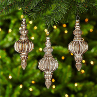 Dillard´s Trimmings Let It Sneaux Antique Gold Ribbed Finial Ornament Set | Dillards