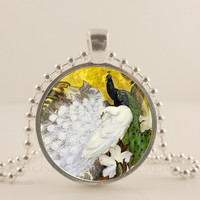 Black and white Peacock bird, glass and metal Pendant necklace Jewelry.