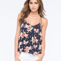 Chloe K Double Strap Floral Womens Tank Navy  In Sizes