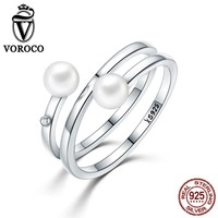 VOROCO 2017 Authentic 925 Sterling Silver Twisting Romance Natural Freshwater Pearl Rings for Women Ring Fine Jewelry VSR081